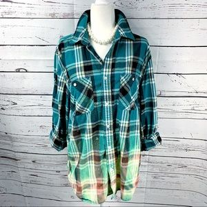 Green & Blue Bleached Button Up Shirt